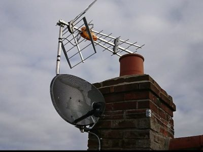 tv aerial on chimney with satellite dish